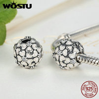 Genuine 100 925 Sterling Silver Cherry Blossom Clip Charm Fit Original Pandora Bracelet Pendant Authentic DIY