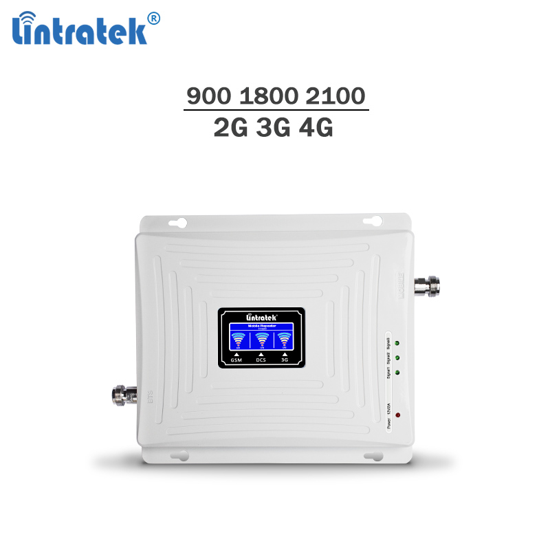 Lintratek celular signal booster 2g 3g 4g gsm umts lte repeater 900 1800 2100 triband 65dB