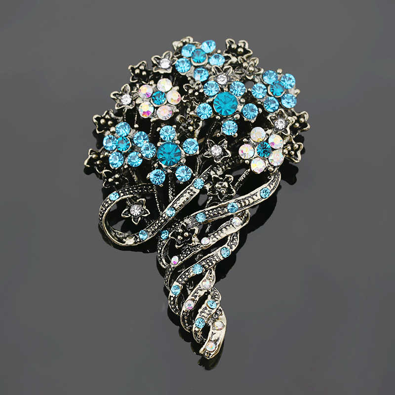 497930316 baiduqiandu Antique Gold Color Vintage Style Color Crystal Rhinestones  Flower Bouquet Brooch Pins Costume Jewelry