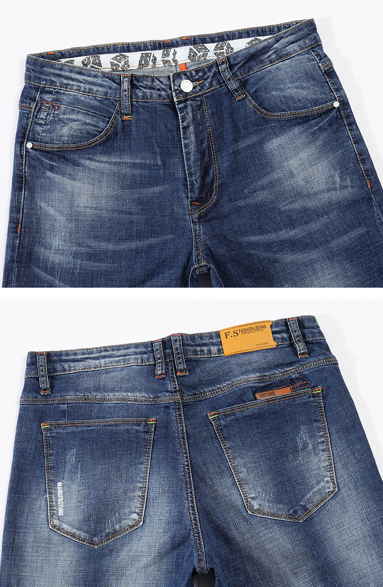 KSTUN Men's Jeans Summer Thin Business Casual Slim Straight Jeans Stretch Denim Pants Trousers
