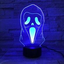 3D Illusion Led Night Light Lamp Ghost Grimace Horrifying Novelty Lights Home Halloween Decoration Kids Child Cool Gift 3d Lamp цена