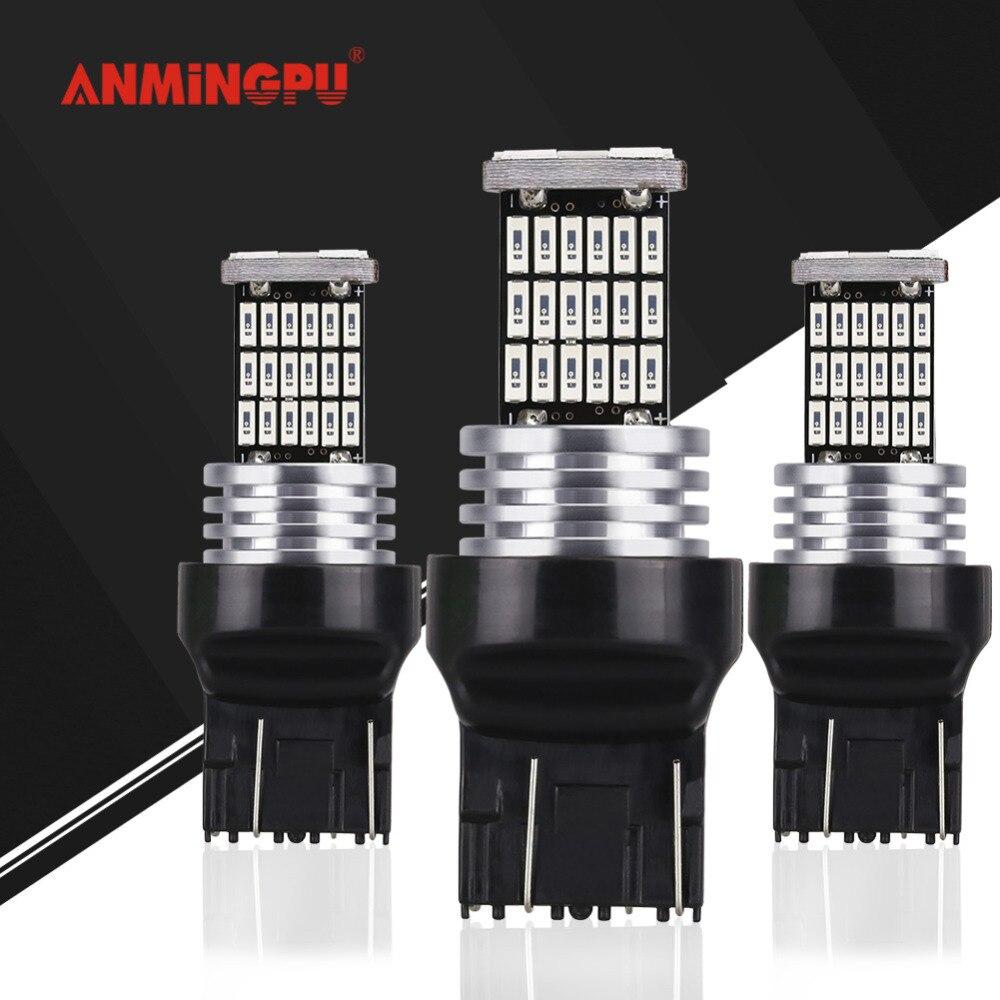 Anmingpu 2x carro conduziu a lâmpada de sinal t20 7443 7440 led w21w w21/5 w wy21w canbus auto turn signal luz reversa cauda luzes freio 12 v