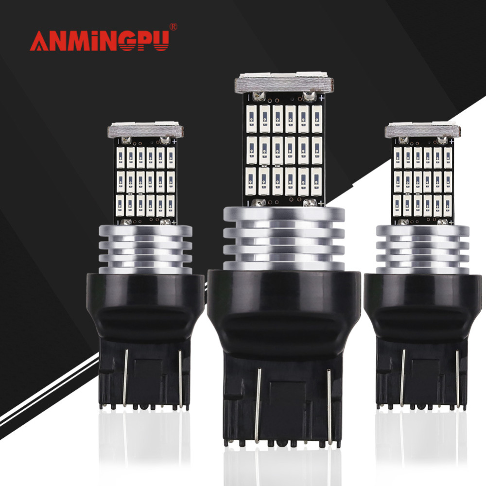 ANMINGPU 2x Car Led Signal Lamp T20 7443 7440 Led W21W W21/5W WY21W Canbus Auto Turn Signal Light Reverse Tail Brake Lights 12V 2pcs t20 30w 7440 7443 5630 5730 smd 33 led car turn signal brake light parking lights auto fog lamps white 6500k dc12v