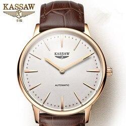 Mężczyźni oglądać KASSAW Top marka luksusowe męskie automatyczne mechaniczne zegarki na rękę męskie szafir wojskowy zegarki Relogio Masculino