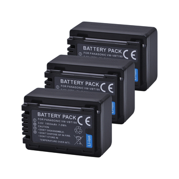 Tectra 3pcs/pack VW-VBT190 VW VBT190 Battery for Panasonic HC-V110 HC-V130 HC-V160 HC-V180 HC-V201 HC-V210 HC-V230 HC-V250 фото