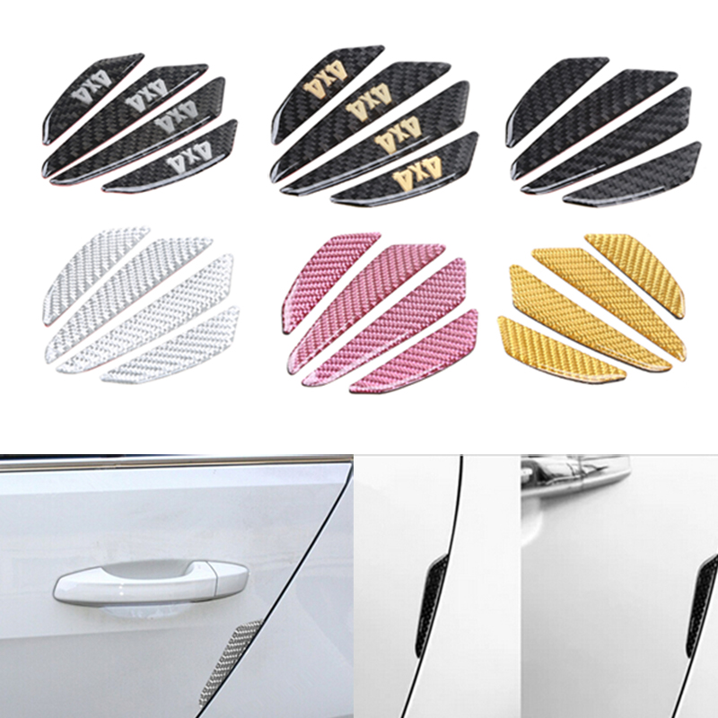 4 Pcs/Lot Carbon Fiber Car Sticker Car Door Protector Fender Bumper Door Side Edge Protection Guards Stickers Auto Accessories 4 x car door protector side edge scrape strips guard sticker auto door bumper edge guards sticker car scratch protection tape