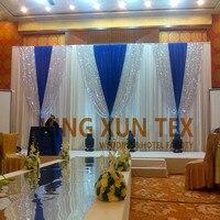 Белый И Королевский Голубой цвет свадьба фон Шторы с серебряными пайетками ткань