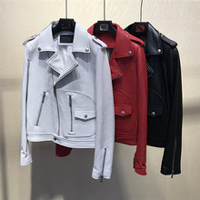 Womens real leather jackets 2019 spring autumn sheepskin biker womens genuine short coat G148