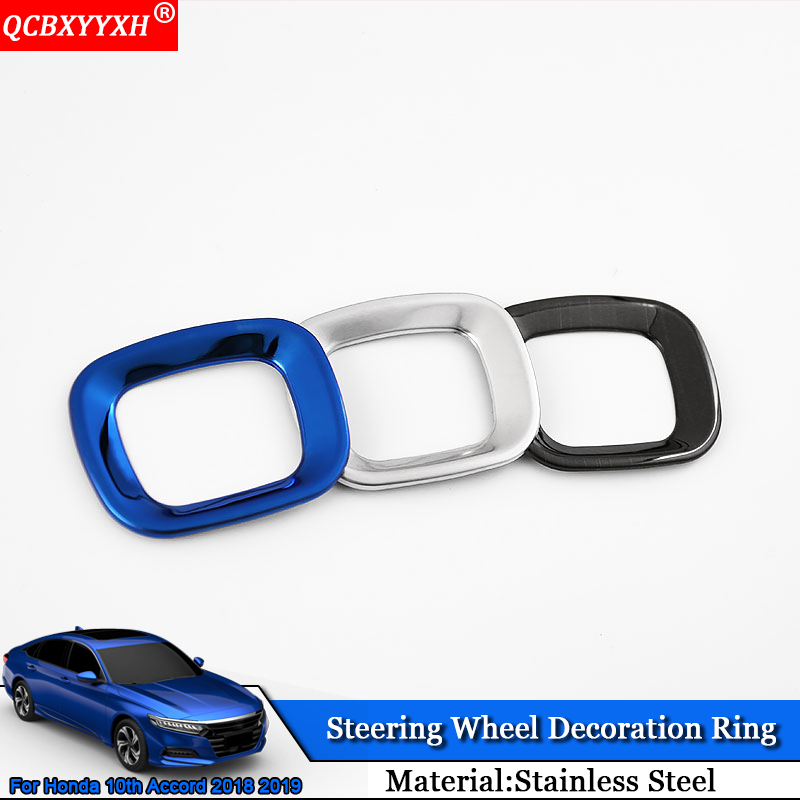 QCBXYYXH Car Styling Stainless Steel Car Steering Wheel Decoration Ring Auto Sticker Accessories For Honda 10th Accord 2018 2019