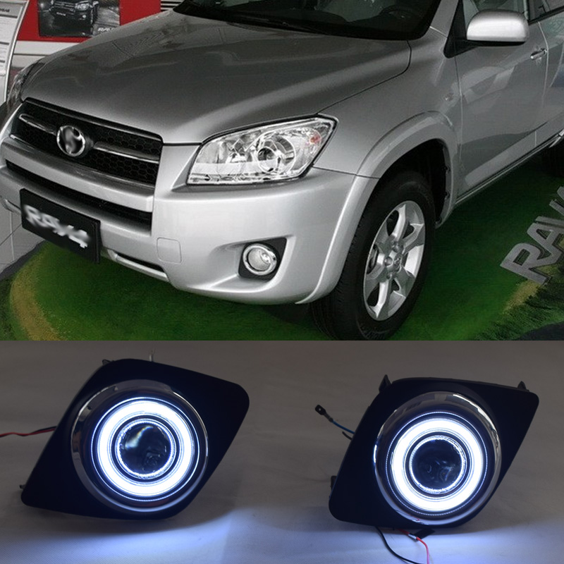 For Toyota RAV4 RAV 4 2009 2011 LED COB Angel Eyes DRL Yellow Signal Light H11