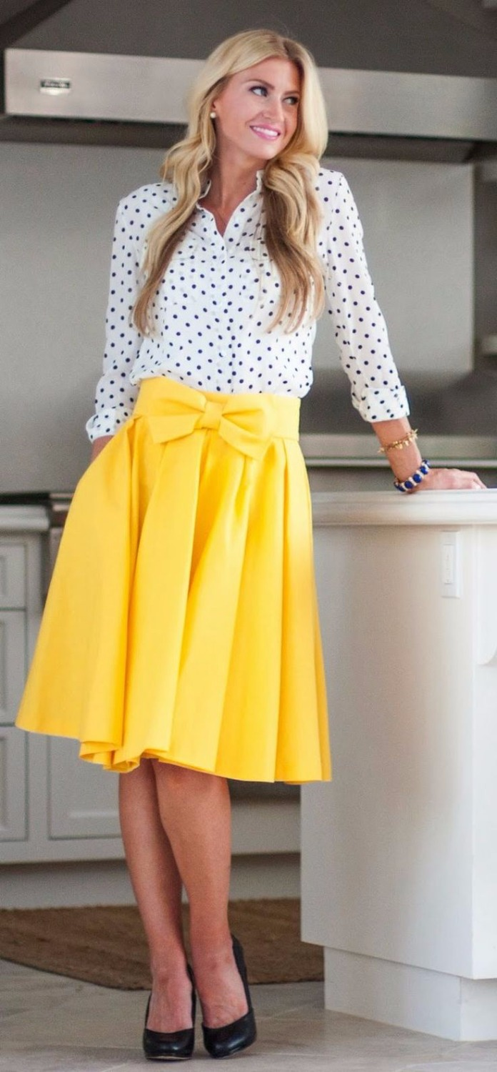 Aliexpress.com : Buy Yellow Skirt With Bow On Waist A Line Knee ...