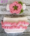 Baby Crochet headband with Matching Diaper Cover Set, pink and white great for Photography Prop