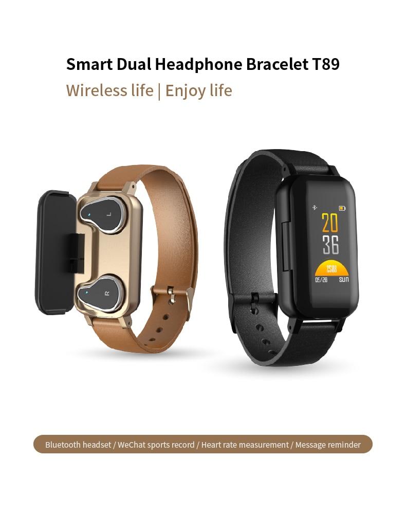 T89 bilatéral Bluetooth casque montre intelligente moniteur de fréquence cardiaque Fitness mode Bracelet intelligent sport Bracelet IOS Android