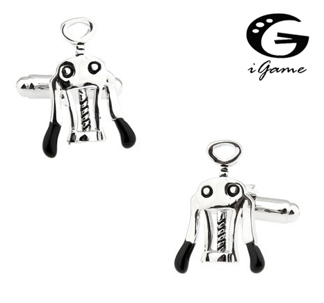 IGame Corkscrew Cufflinks Unique Red Wine Opener Design Quality Brass Material Free Shipping