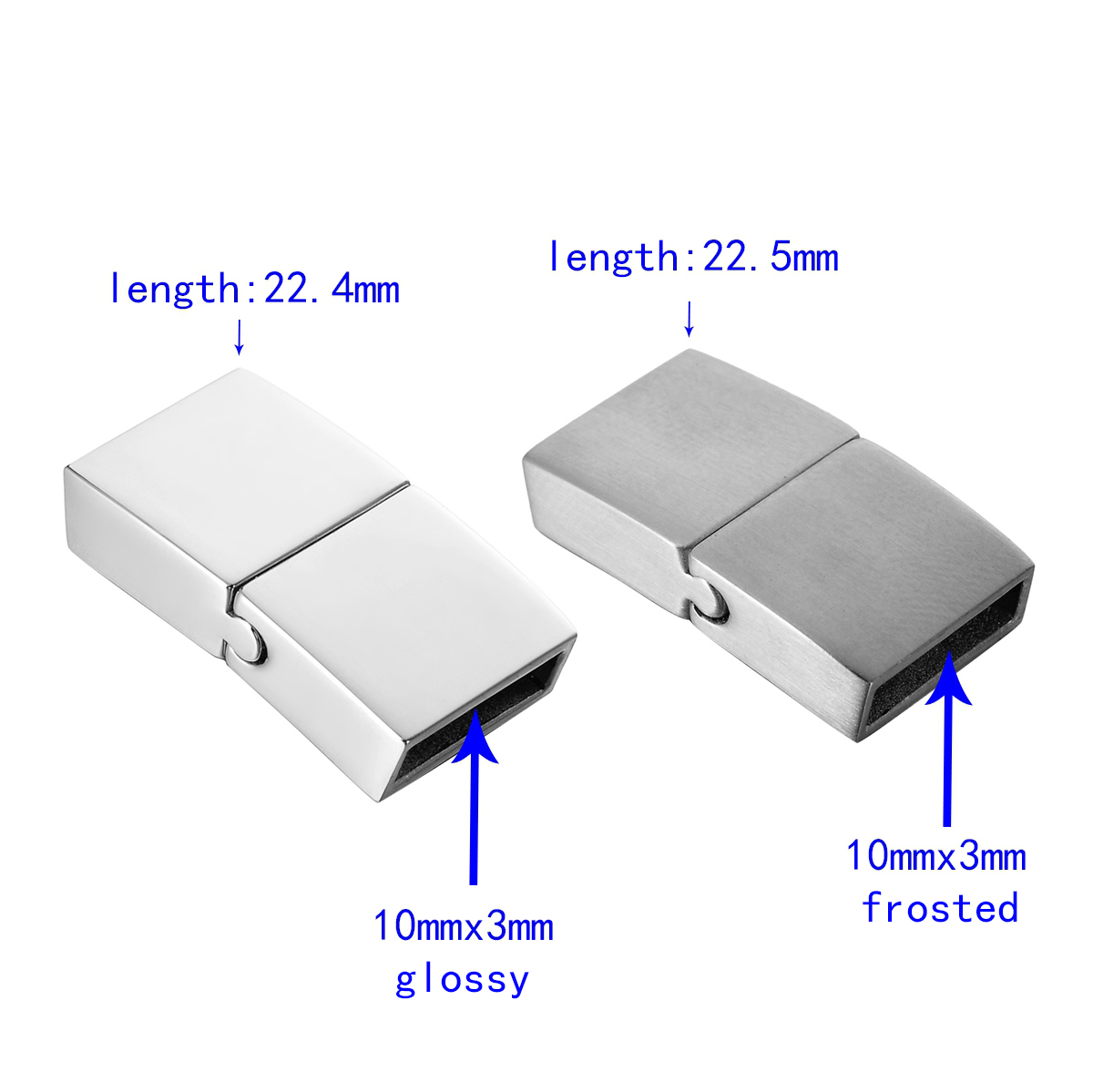 LASPERAL 1PC Stainless Steel Magnetic Lock Clasps For Leather Bracelets Clasp DIY Jewelry Findings Components Frosted / Glossy