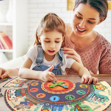 New Childrens gift large piece of paper puzzle digital clock color boxed early education childrens toys