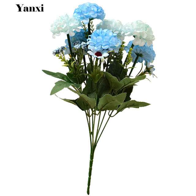 7 head Hydrangea artificial flowers for home wedding tabletop garden decoration white blue pink  purple color fake flower plants