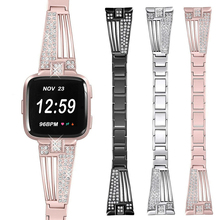 Luxury Stainless Steel Bracelet Rhinestone Watch Band Strap For Fitbit Versa Replacement Metal Bling Bands Bracelets Belt