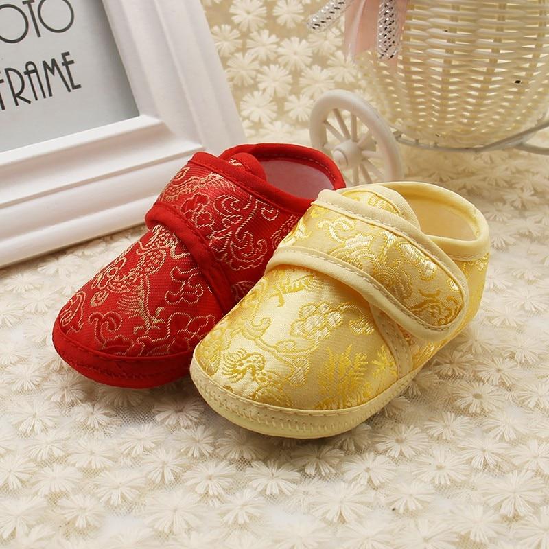 Shoes Prewalker Soft-Bottom Newborn Autumn Baby Golden-Floral Spring for 0-18M Embroidery