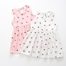Baby Girl Sleeveless Dress 2-6 Years Summer Girls Prined Flower Dresses Children Clothes Baby Cotton Princess Dress Outfits erapinky dresses for girls 6 7 years flower embroidery sleeveless round neck a line princess girl party dress summer 2018