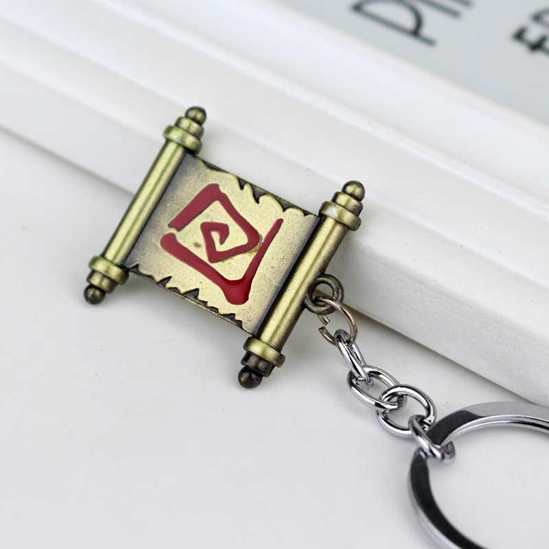 Popüler oyun tema Dota 2 anahtarlık klasik kaydırma şekil Metal kolye anahtarlık moda araba anahtarlık anahtar tutucu