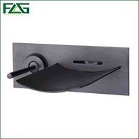 FLG Led Bathroom Tap Faucet Temperature Color Changing LED Waterfall Wall Mount Oil Rubbed Bronze Black