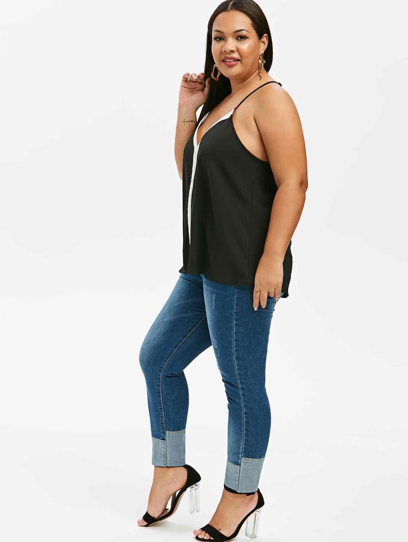 Плюс размер Cami Топ Летняя женская Свободная блузка без рукавов майка контрастная Racerback Большой размер Сексуальная черная красная Лоскутная одежда для отдыха