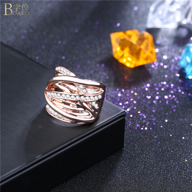BOAKO Bling Rock Rose Gold Cubic Zirconia Ring Rhinestone Women Girl Wedding Party Ring Valentine Gift Jewelry Z3 image