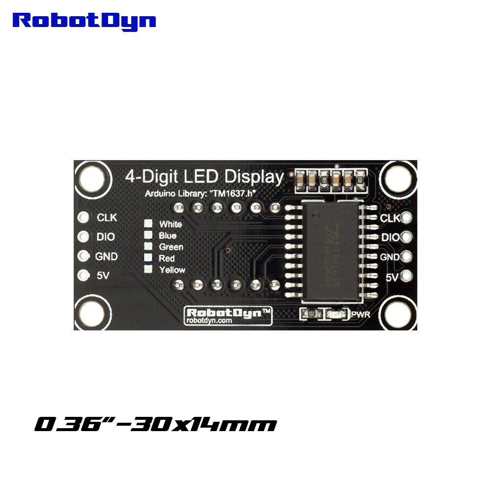 7-segments TM1637 RobotDyn RobotDyn 4-Digit Yellow LED Display Tube 30x14mm