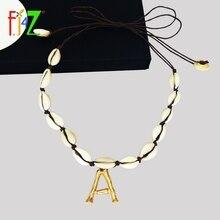 F j4Z caliente mujer carta collar de aleación pequeño 26 inicial collar y colgante dama Concha gargantilla collares collar inicial letra