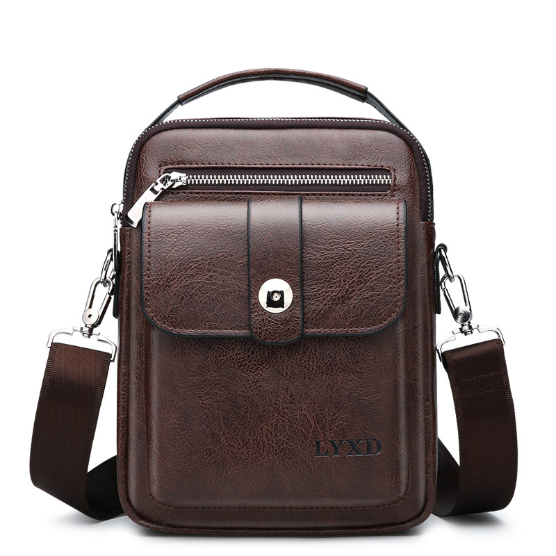 Retro Style Men's PU Business Travel Messenger Bag A Variety Of Styles Solid Color Simple And Versatile Shoulder Bag Hot Sale