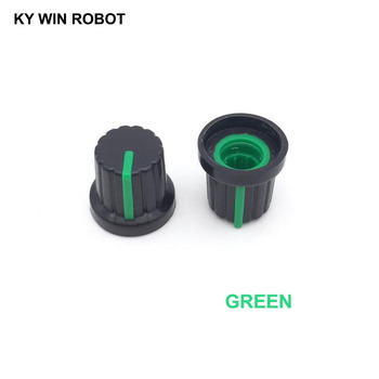 10PCS /lot Green Volume Control Rotary Knobs For 6mm Dia Knurled Shaft Potentiometer Durable 10pcs colorful rotary volume crystal control vintage plastic knob 32x14mm for 6 35mm shaft