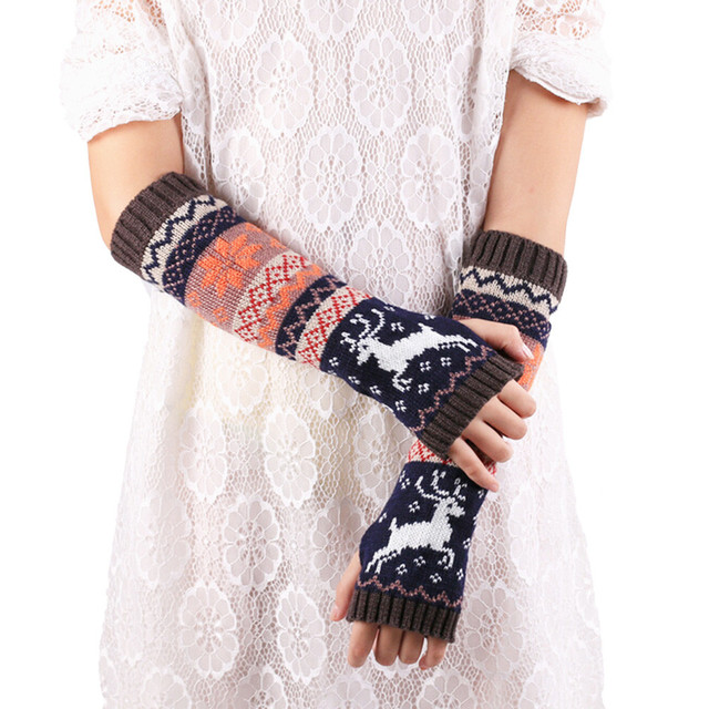 Women Fingerless Knitted Gloves Arm Warmer Winter Gloves without finger Luvas feminina para o inverno Guantes mujer Gants femme