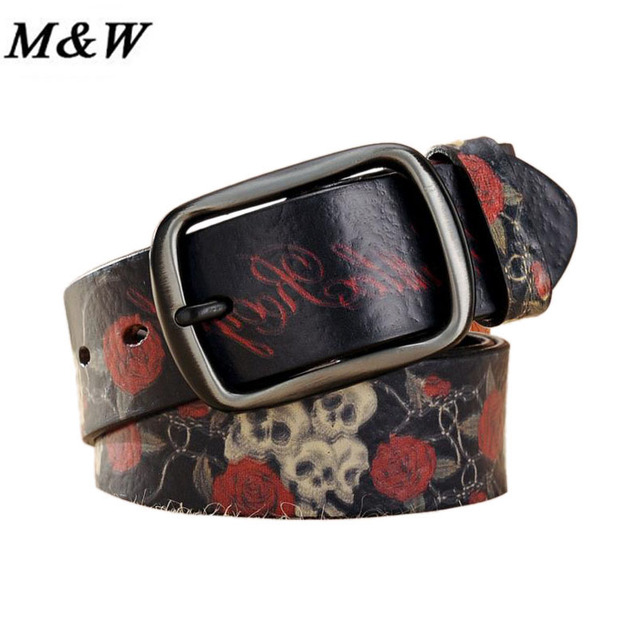 Fashion Korean Women Belts Floral and Skull Pattern Printed Belts Casul Style Graffiti Print Belt Accessories For  Female Girl