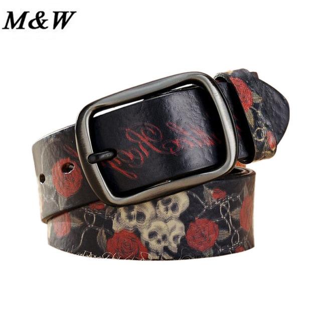 Moda Coreana de Las Mujeres Cinturones Cinturones de Flores y Cráneo Patrón Impreso Casul Estilo Graffiti Imprimir Cinturón Accesorios Para Mujer Chica
