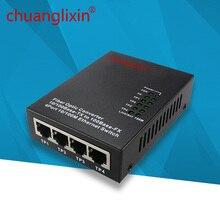 Ethernet medien konverter 10/100M 4 port + 1 faser port optische SC 1310/1550nm AB Einzigen modus dual fiber media converter 1 stücke