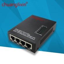 Media konwerter ethernet 10/100M 4 port + 1 port światłowodowy optyczny SC 1310/1550nm AB jednomodowy z podwójnego włókna konwerter transmisji 1 sztuk