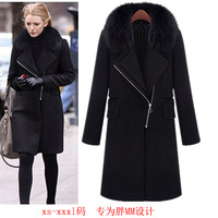 2018 Autumn Winter New Wool Coat Women Fashion Imitation fur collar hooded Oblique Zipper Black Woolen Blend Coat Plus Size