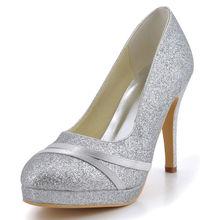 Zapatos de boda runde kappe hochzeit heels party satin braut glitter pailletten tuch hochzeit brautjungfer schuhe pumpen RR-118 YY