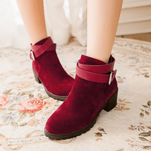 women's red Ankle boots Adult ladies students scrub PU leather shoes for bottes femmes womens shoes rubber sole free drop ship