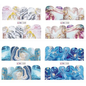 Image 5 - 12 Designs Marble Texture Nail Sticker Water Decals gray blue Marble Series Nail Tips Manicure Full Wraps Nail Decor BN1345 1356