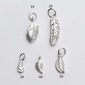 Moda europejska Feather And Leaf Craft Charms 925 srebro ręcznie wykonany wisiorek biżuteria akcesoria DIY tworzenie biżuterii