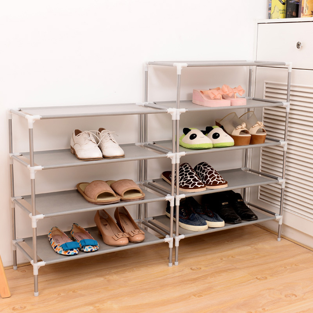 House Scenery Living Room Furniture Portable Shoe Racks Folding Multilayer Non Woven Fabric Combination Dustproof Shoes