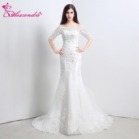 Alexzendra Stock Dresses Off the Shoulder Mermaid Wedding Dress with Sleeves Elegant Bridal Gowns Ready to Ship
