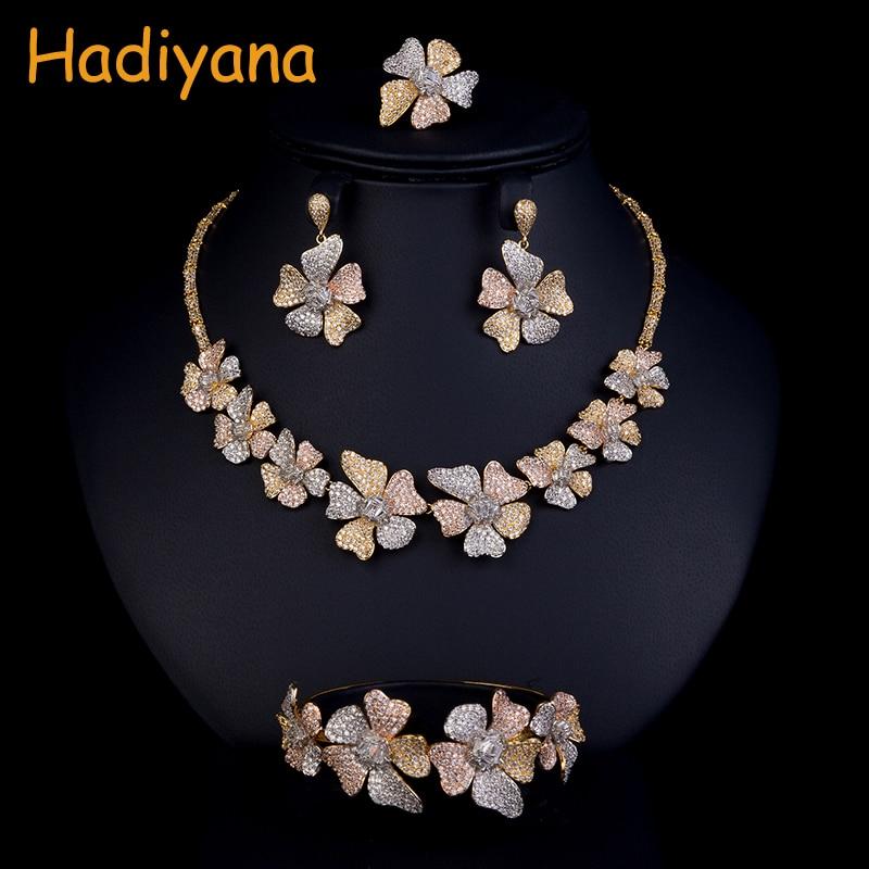 Hadiyana модные триколор цветок Для женщин набор кубического циркония Цепочки и ожерелья браслет серьги и кольцо 4 шт. Свадебные украшения CN773