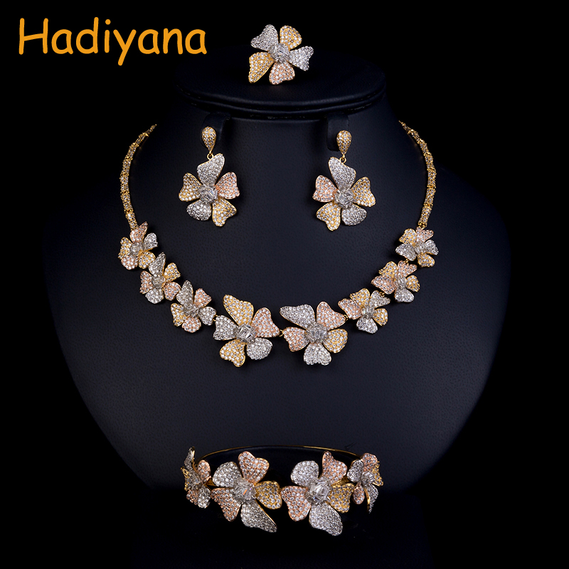 Hadiyana Fashion Tricolor Flower Women's Set Cubic Zirconia Necklace Bangle Earrings And Ring 4pcs Jewelry Wedding Set CN773 4pcs bridal fashion flower cubic zirconia inlaid wedding necklace dangle earrings bracelet ring jewelry set boucle d oreille