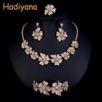 Hadiyana Fashion Tricolor Flower Women's Set Cubic Zirconia Necklace Bangle Earrings And Ring 4pcs Jewelry Wedding Set CN773