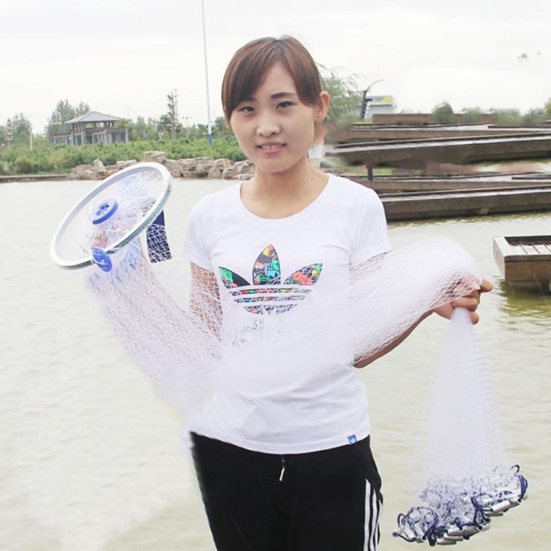 Cast Net 240-300 Plomb De Pêche Gill Réseau Américain Main Jet Net fer pendentif Petite Maille Sprots Fly Catch de pêche Net