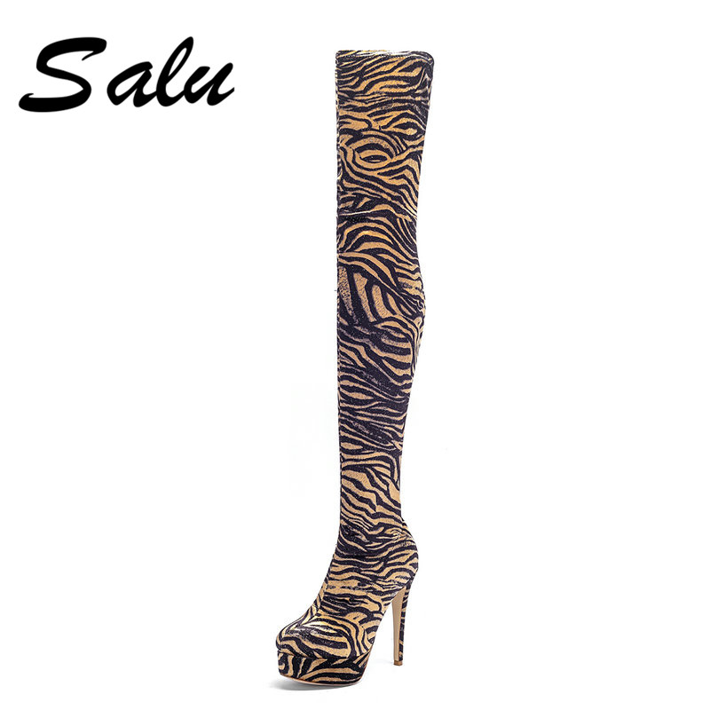 Salu Women Over The Knee High Boots Square High Heel Women Shoes Platform Winter All Match Sexy Women Boots Size 34-43 xjrhxjr 2018 women over the knee boots sexy suede leather square high heel women shoes winter warm motorcycle boots size 35 43