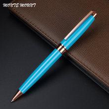 Ручка шариковая черная металлическая с зажимом под розовое золото
